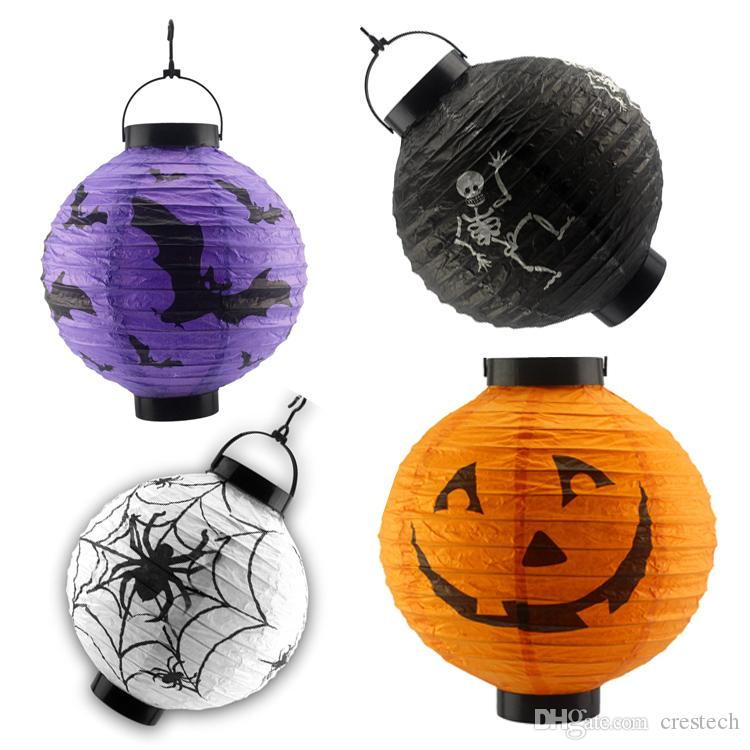 Halloween pumpki lamps outdoor solar lantern waterproof nylon 10in 8in 6in white RGB Color chinese lanterns led solar lights