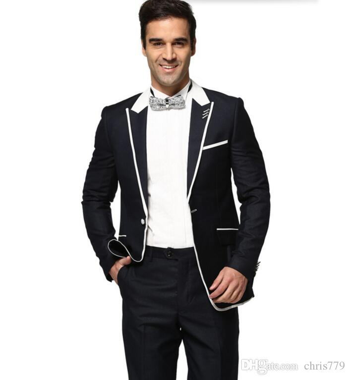 The latest men Wedding suits Dress Men Suits Casual Long Sleeve Suit High Quality prom suits tuxedos Navy Bluejacket+pants