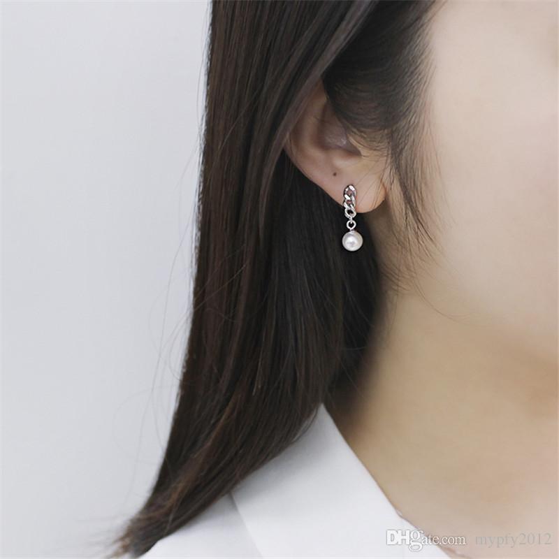 6-7mm Pearl Earrings New Punk Handmade Link Chain 925 Sterling Silver Pearl Drop Earring For Women Girls Wedding Jewelry