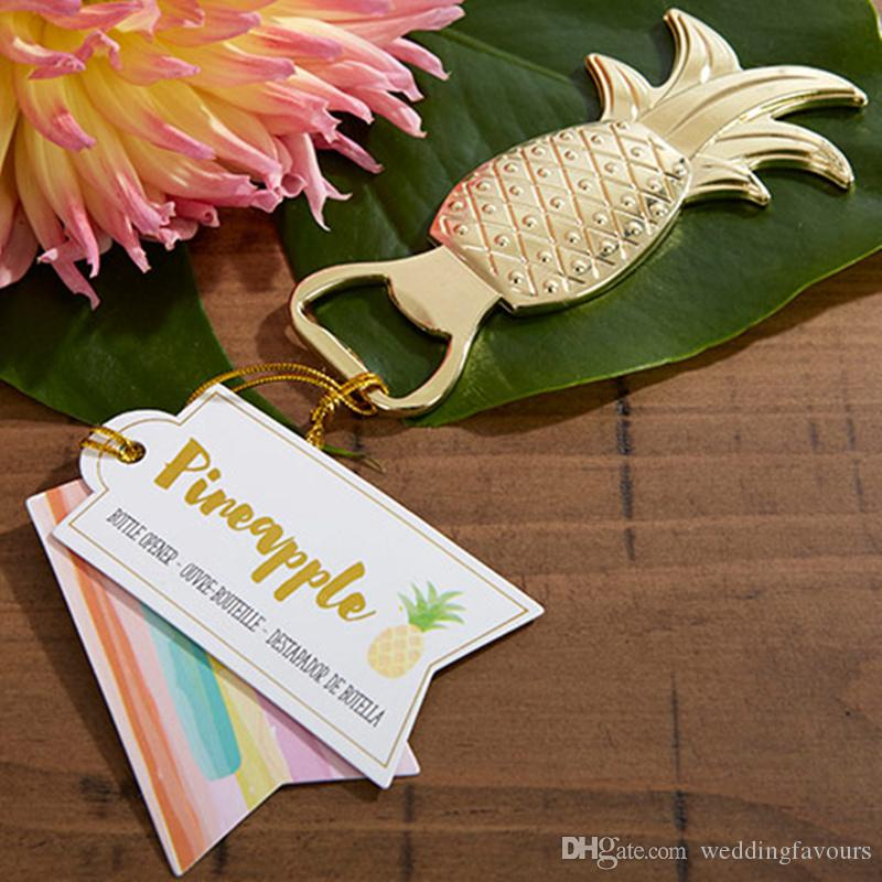 Gold Pineapple Bottle Opener Wedding Favor Bridal Shower Tropical