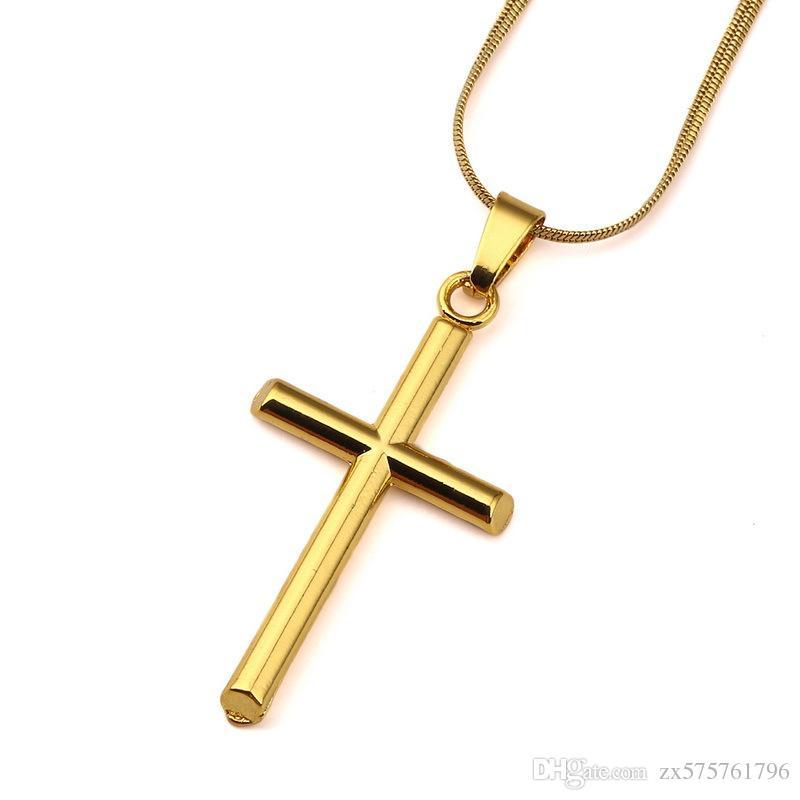 wholesale men cross necklace fashion hip hop jewelry 18k gold chokers 45cm chains punk rock rap men necklaces for sale cat pendant necklace silver bangles