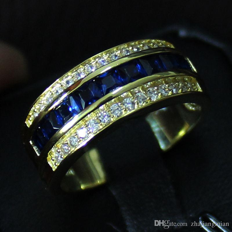 Classic Mens Blue Sapphire CZ Paved 10KT Yellow Gold Filled Band