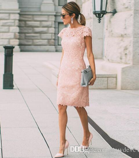 Blush Pink Full Lace Mother Of The Bride Dresses Plus Size Wedding Guest Dress Sheath Knee Length Mothers Outfits Casual Wear