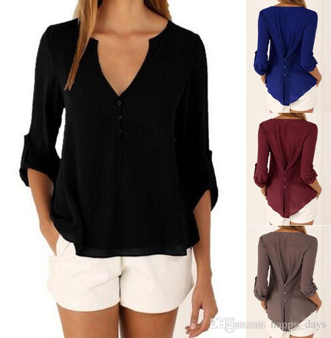 c5c8fa1ba03 New Fashion Casual Sexy Deep V Neck Button Slim Waist Long Sleeves Chiffon  Blouse Shirt Top Plus Size Tops Blouses Online with  12.42 Piece on  Happy days s ...