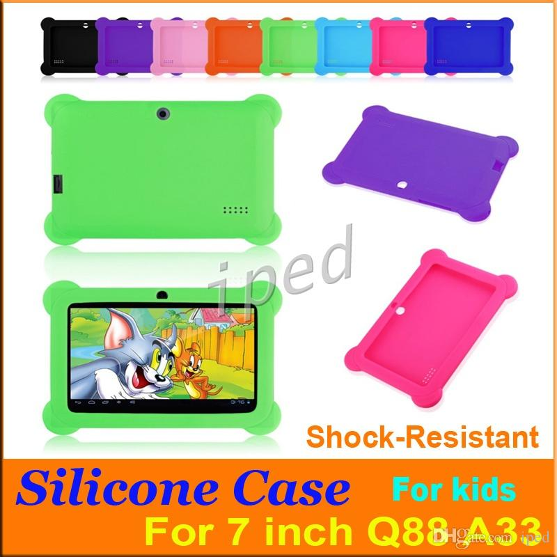 "Anti Dust Kids Child Soft Silicone Rubber Gel Case Cover For 7"" 7 Inch Q88 Q8 A33 A23 Android Tablet pc MID shock resistant 50"