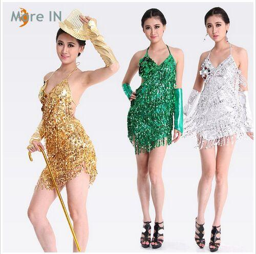 59da2919afdfa 2019 Latin Dress Gold And Silver Ballroom Dress For Women Latin Dance  Costume Salsa Sequins Dresses Fringe Skirts On Sale From Dancingqueen88, ...