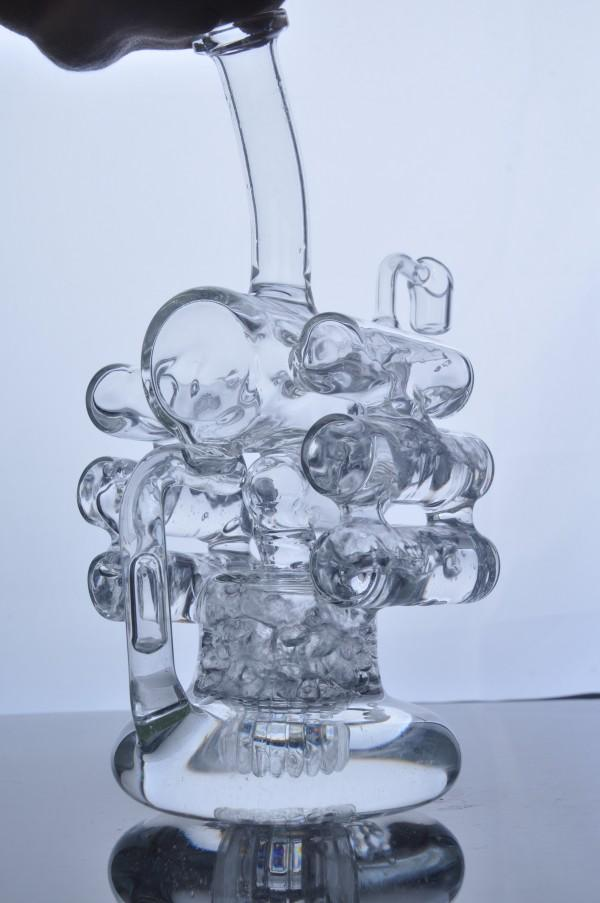 Cyclone Helix Glass Bong Cream Six Ball Jet Recycle Birdcage Tire Perc Bubber Water Pipe Hookah Oil Rigs In Heavy Base