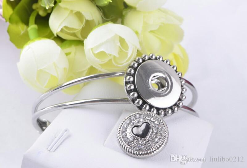 Noosa Snap Düğmesi 18 MM Kalp Rhinestone Zencefil Yapış Chunk Charm Düğme Noosa Için Değiştirilebilir Diy Takı Noosa Düğmesi Bilezik