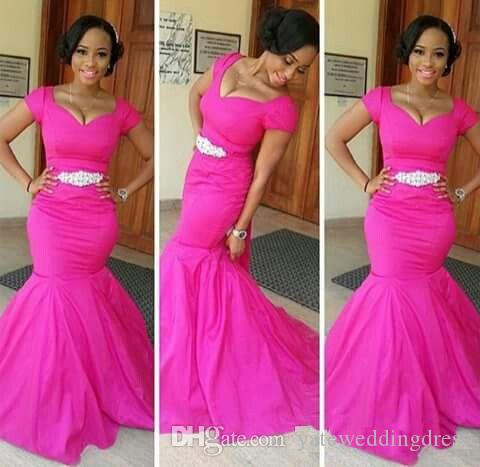 African Style Plus Size Bridesmaid Dresses Taffeta Scoop Short Capped Sleeve Wedding Guest Dress Abdomen With Decorations Cheap Formal Gown