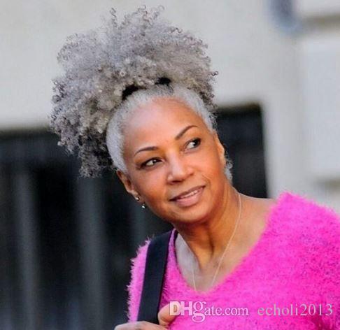 100% gerçek saç gri puf afro at kuyruğu saç uzatma klibi Remy afro kinky kıvırcık İpli ponytails gri saç parçası 120g
