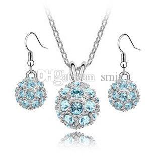 Moda Donna Placcato Argento Donne Shamballa Palla Zirconia Austria Orecchini pendenti in cristallo Collana Set di gioielli B79