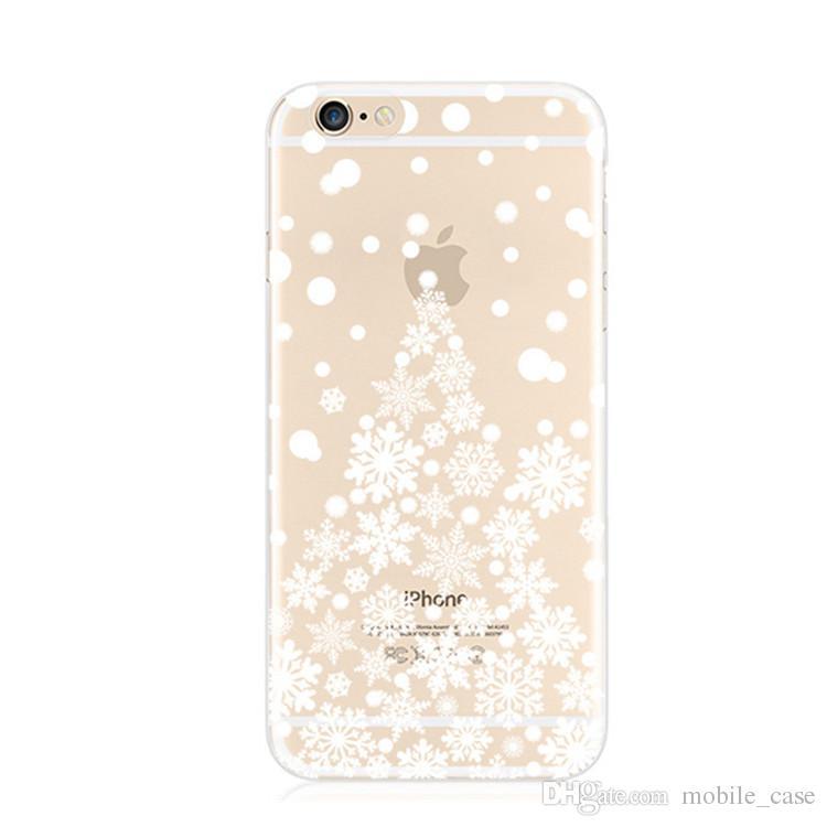 Для iPhone X Прозрачный Мягкий Чехол ТПУ Ультра Тонкий Снежинка Рождественская Елка Силиконовый Чехол Чехол Для Iphone 8 7 Plus 6 S Plus 6 S 5 S
