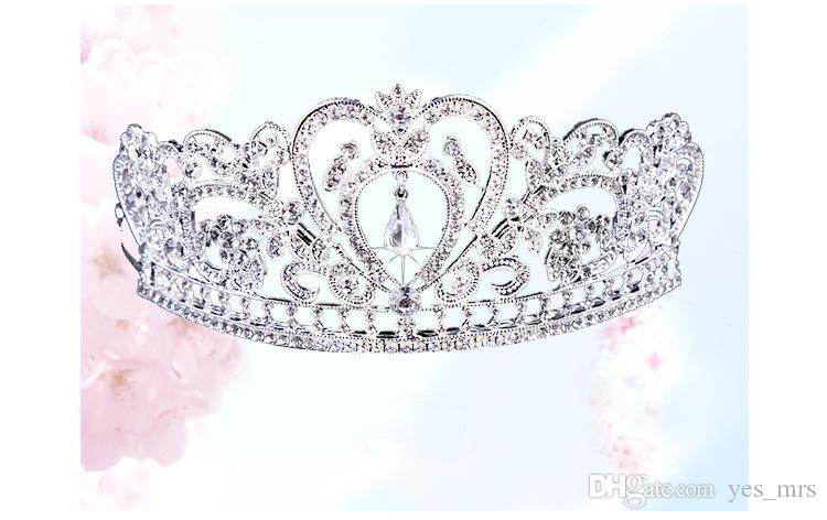 Real Image Donne Donne in argento oro copricapo in cristallo d'oro goccia d'acqua corona tiaras hairwear wedding damidesmaid party gioielli da sposa accessori