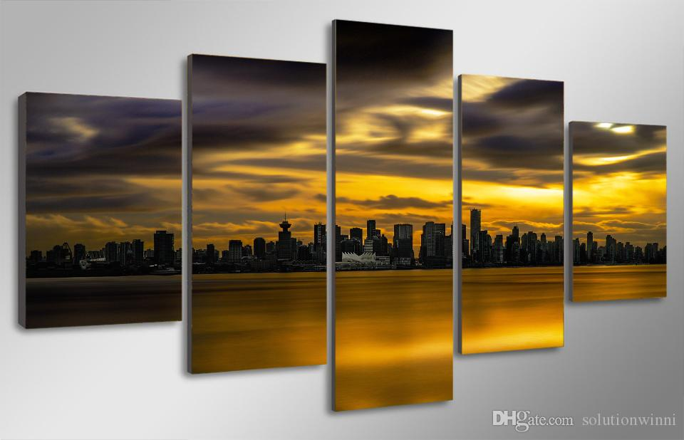 HD Printed City view sunset Painting Canvas Print room decor print poster picture canvas cheap oil paintings