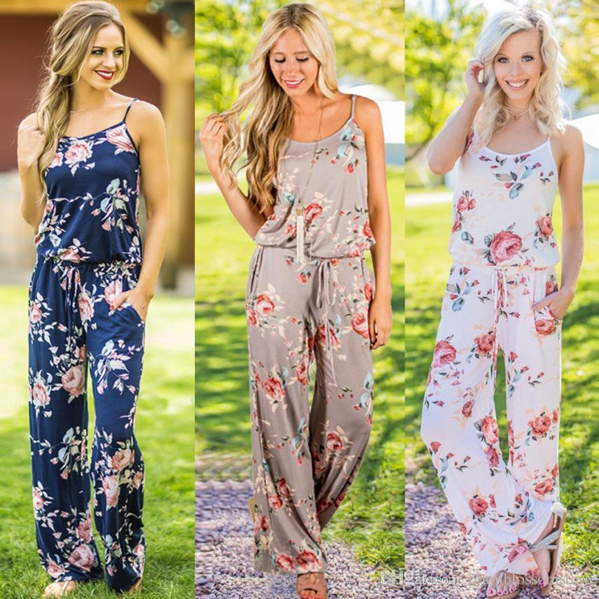 8816c1112851 2019 Fashion Womens Sleeveless Jumpsuits Ladies Loose Drawstring Playsuit  Long Floral Printed Wide Leg Pants Bohemian Beach Bodysuit Overalls New From  ...