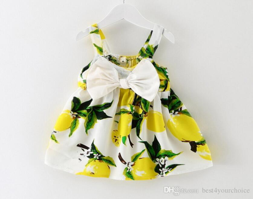 Korean Fashion Girl's Harness Dress Bow Floral Mini Dress Suspender Kids Clothing Cute Baby Dresses