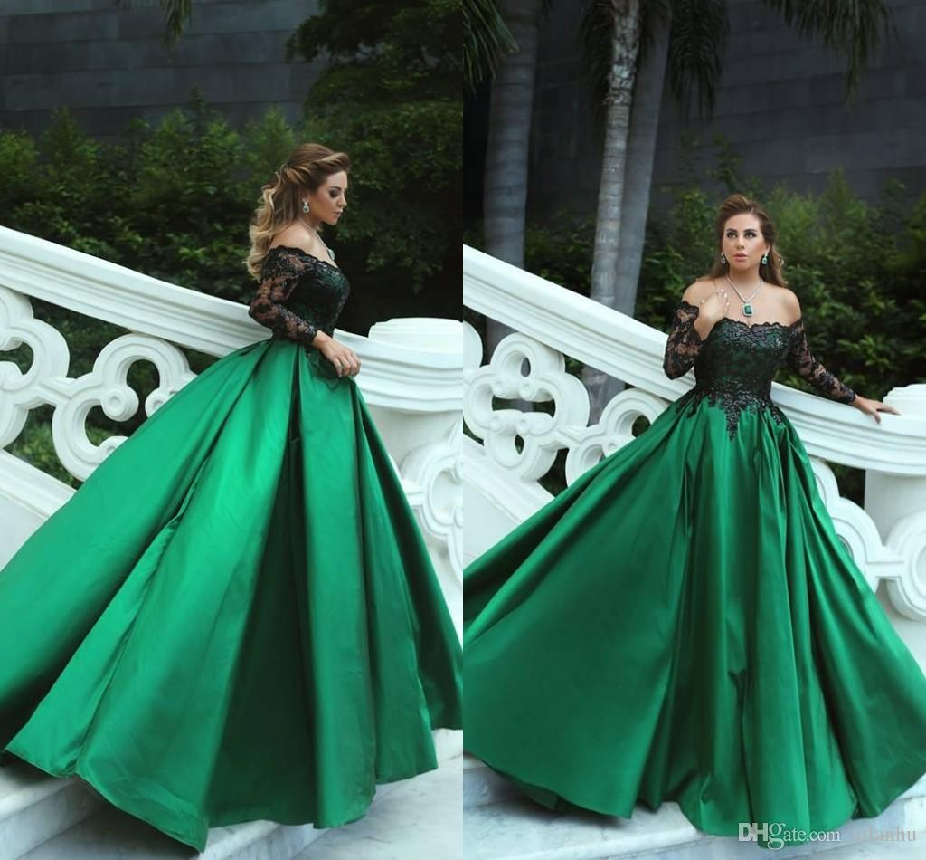Gorgeous 2018 New A Line Dark Green Evening Dresses Black Applique ...