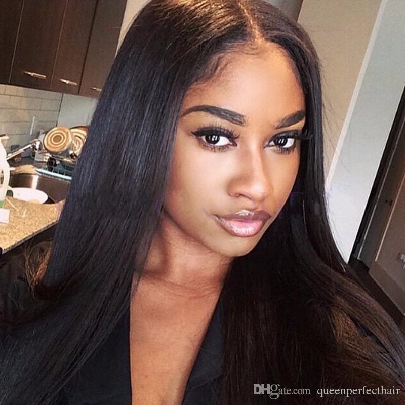 브라질 검은 색 긴 실키 블랙 여성을위한 스트레이트 가발 인간의 머리 내열 글루리스 glueless의 합성 레이스 프런트 가발