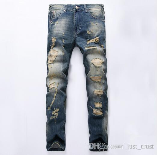 2016 Sales Top Famous Popular Broken Scratch Hole Skinny Jeans Mens Vintage Casual Ripped LOGOJeansDenim Beggar Joggers Punk Pants