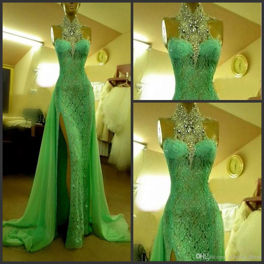 2019 에메랄드 그린 이브닝 드레스 크리스탈 다이아몬드 아랍어 이브닝 파티 가운이있는 높은 칼라 긴 사이드 슬릿 두바이 댄스 드레스 드레스 중국