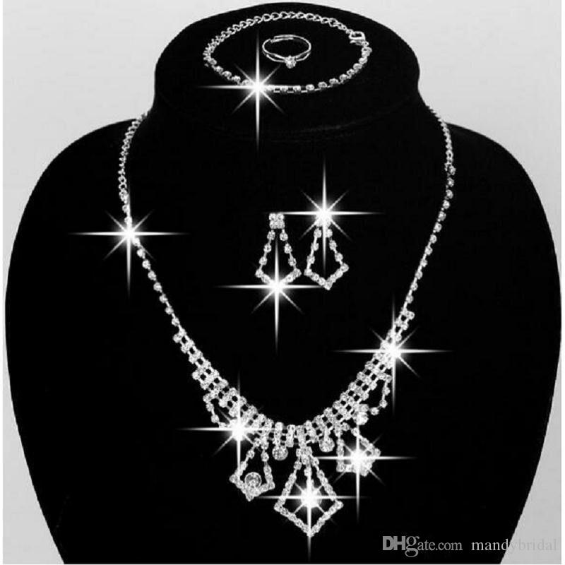 2018 Cheap Wedding Jewellery Rhinestone Necklace Set Earrings Chain Bridal Accessories In Stock Prom Party Jewelry Sets Beautiful Diamond Rings