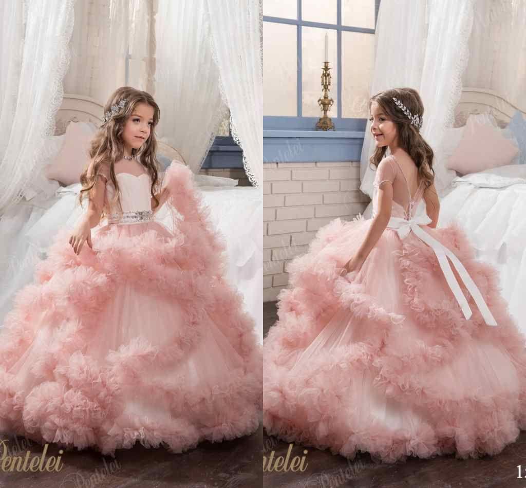 Little Girls Pentelei 2017 Sheer Jewel Neck Princess Ball Gown Kids ...