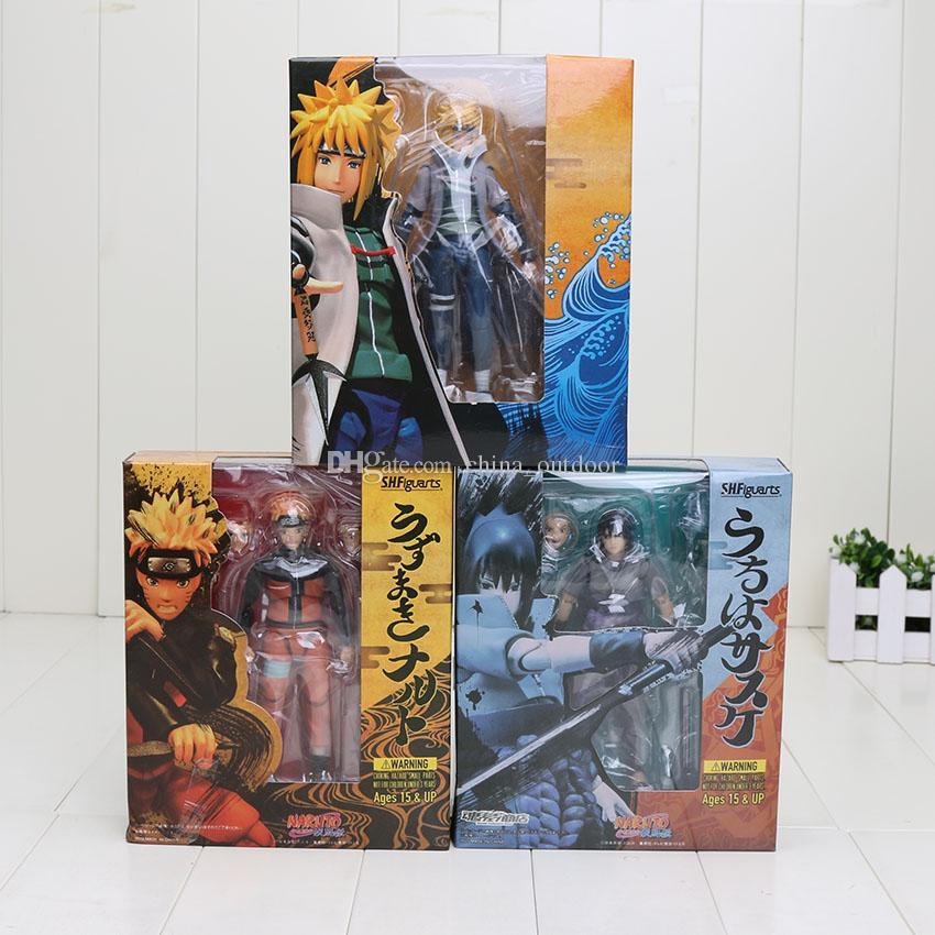 3Styles 14см SHFiguarts Naruto Shippuden Uzumaki Naruto Uchiha Sasuke Namikaze Minato в штучной упаковке ПВХ фигурка коллекционная модель игрушки