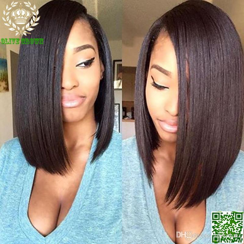 Top Grade 6A Short Bob Brazilian Human Hair Full Lace Wigs Glueless Bob Lace Front Human Hair Wigs For Black Women