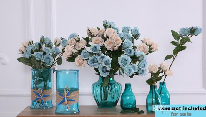 4 Heads Fall Fake Flowers Spray Roses Wholesale for Blue Wedding Party Home Decor Flower Arrangement