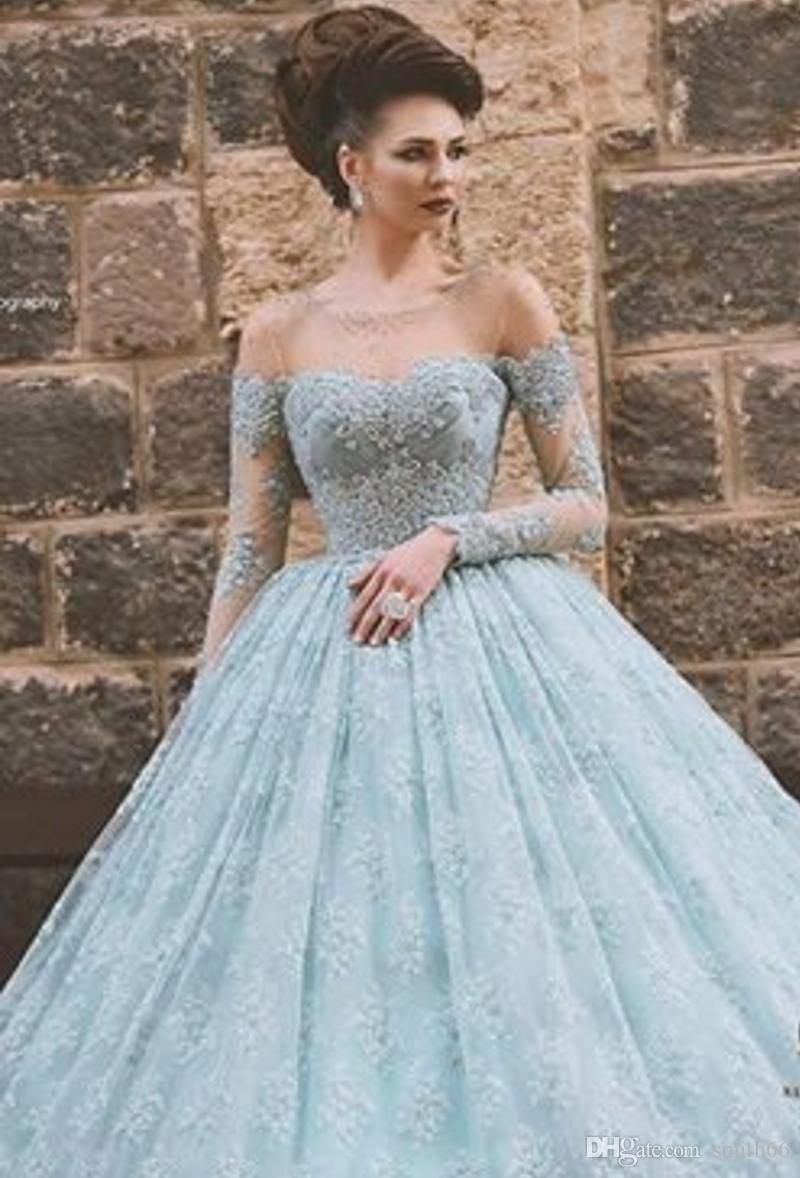 Sexy Long Sleeve Lace Ball Gown Prom Dresses 2016 Girl Off Shoulder ...