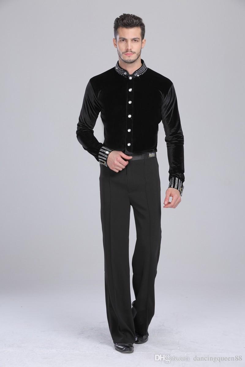 2018 Latin Dance Top Man 165-180cm Camisa de baile de salón Black Spandex + Velvet + Drill Camisa de baile para hombre Tango / Cha Cha / Rumba Dancewear