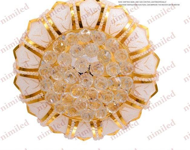 "nimi831 42""107cm Modern Invisible Gold LED Crystal Lights Ceiling Fan Lamps Living Room Bedroom Chandelier Dining Pendant Lighting"