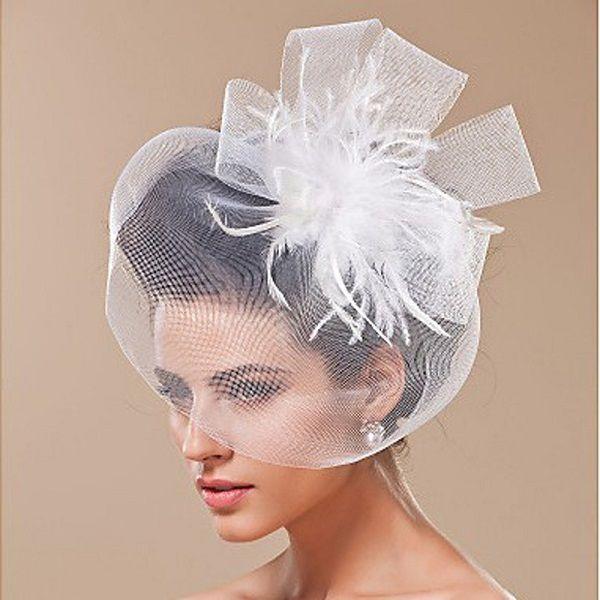 The Dance Show the Bride Veil Geaddress Ornaments Club Birthday Party Gauze Face Mask Feather Unilateral Short Head BD067