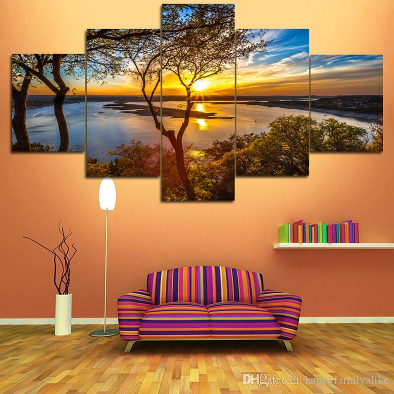 2017 New Panel Homes Natural Canvas Painting Unframed Painting Living Room  Bedroom Canvas Wall Art Natural City Landscape Paintings 5 Panels From ... Part 72