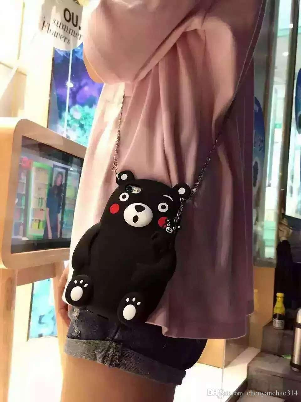 New Hot Japan Cartoon Cute 3D Stereo Kumamon Black Bear Soft Silicon Cover For iPhone 6 s + Cool Fashion Phone Cases Boys Girls