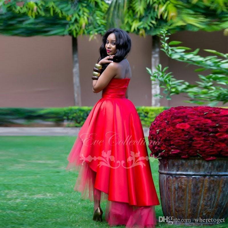 Nouveau Rouge Haut Bas Puffy Africain Noir Fille Robes De Bal 2019 Personnaliser Plus Unique Ankara Robe Femmes Robes De Soirée Manches Festa