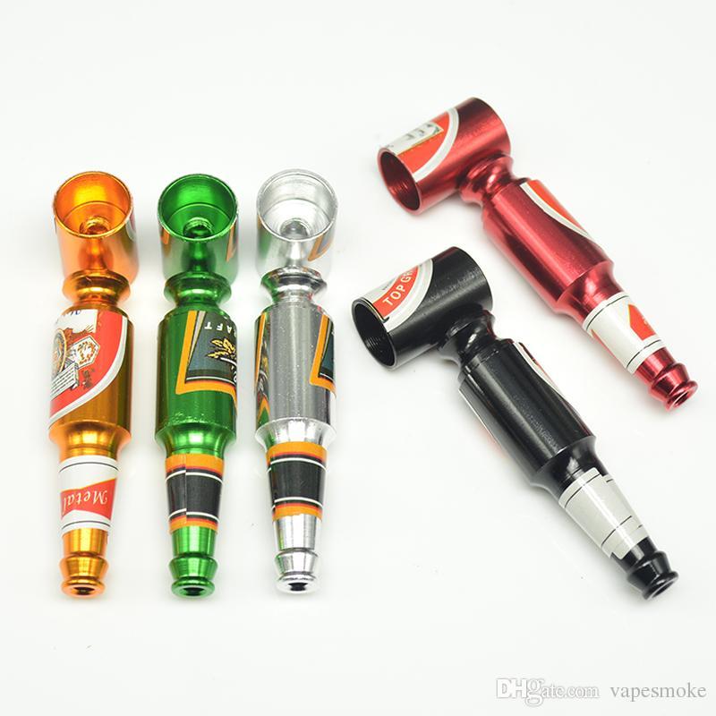 Nieuwe Hot Creative Smoking Accessoires Mini Smoke Pipe Metal Smoking Pipe Kleine Populaire Bierflessen Patroon Grote en Kleine Grootte Pijp