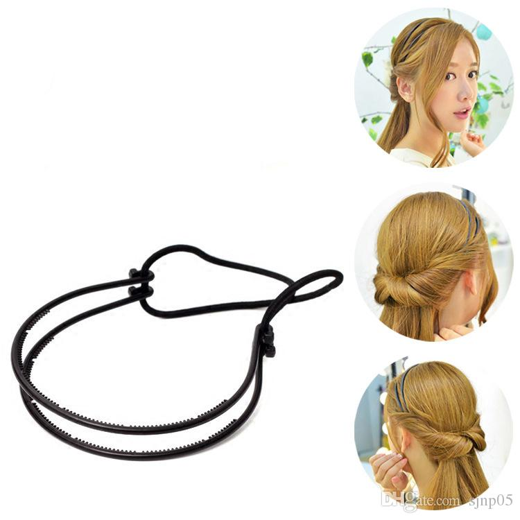 dual grip elastic twisted hairstyles headband hair clip