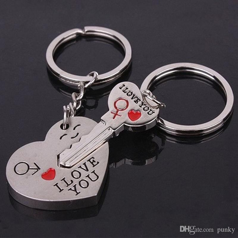 0c93d9f9ab New Couple I LOVE YOU Heart Keychain Ring Keyring Key Chain Lover Romantic  Creative Birthday Gift Key Tags Custom Keychains From Punky, $0.52|  DHgate.Com
