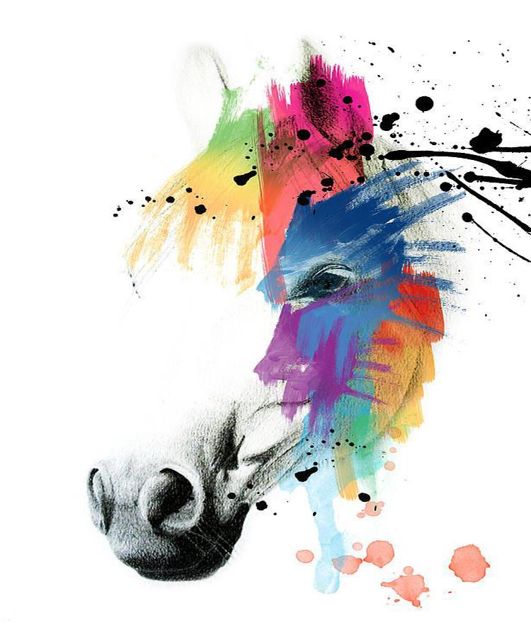 2017 Light Colors Abstract Horse Oil Painting On Canvas Modern Wall Art Decoration For Living Room Decor Heads From Qushimei88