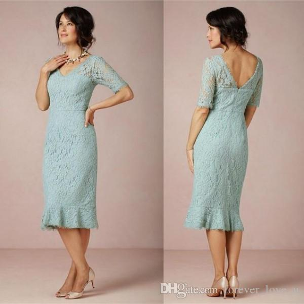 Elegant Tea Length Mother Bride Dresses Sleeves Romantic Lace Sheath Column V Neck Cocktail Dresses with Illusion Short Sleeves
