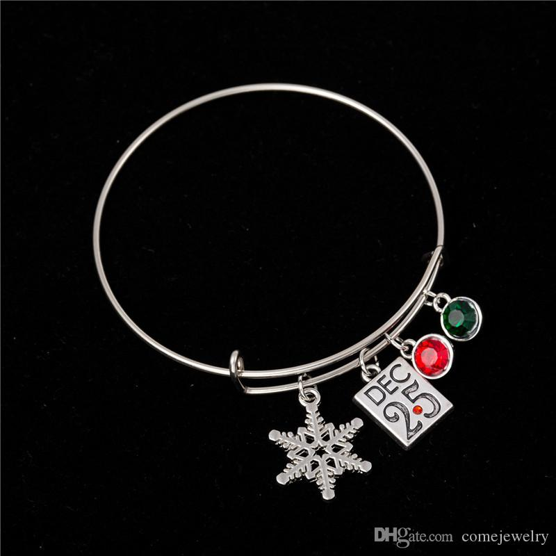 Myshape Cool Fashion Stainless Steel DIY Charms Bracelet Red&Green Crystal Snow Flake Christmas Gift Dec.25 Pendant Bangle Wristbands