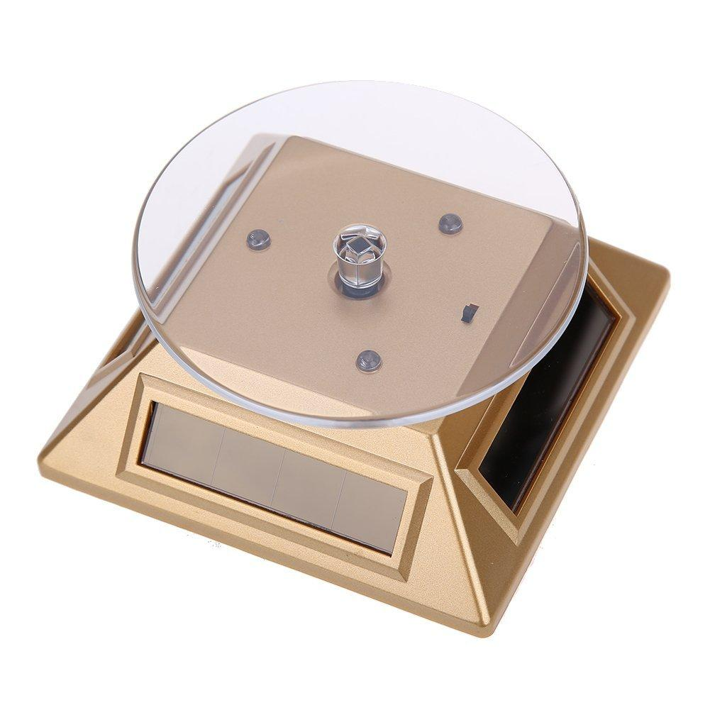 New 360 Degrees Turntable Rotating Jewelry Watch Ring Display Stand Solar Showcase with 3 Colorful LED Lights