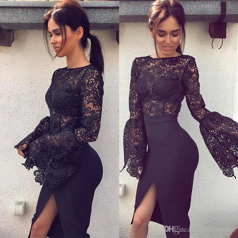 Black Cocktail Dresses Sexy Knee Length Lace Illusion Long Sleeve ...