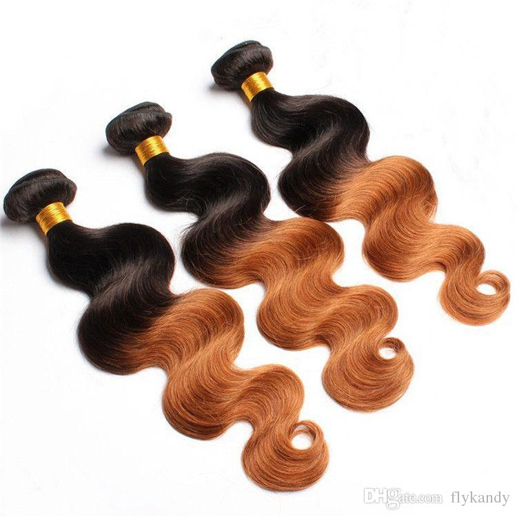 1B-30 Brazilian Ombre Body Wave Hair Weaving,7A Brazilian Body Wave Ombre Human Hair Extensions,Two Tone Color More Wavy Virgin Hair Weaves