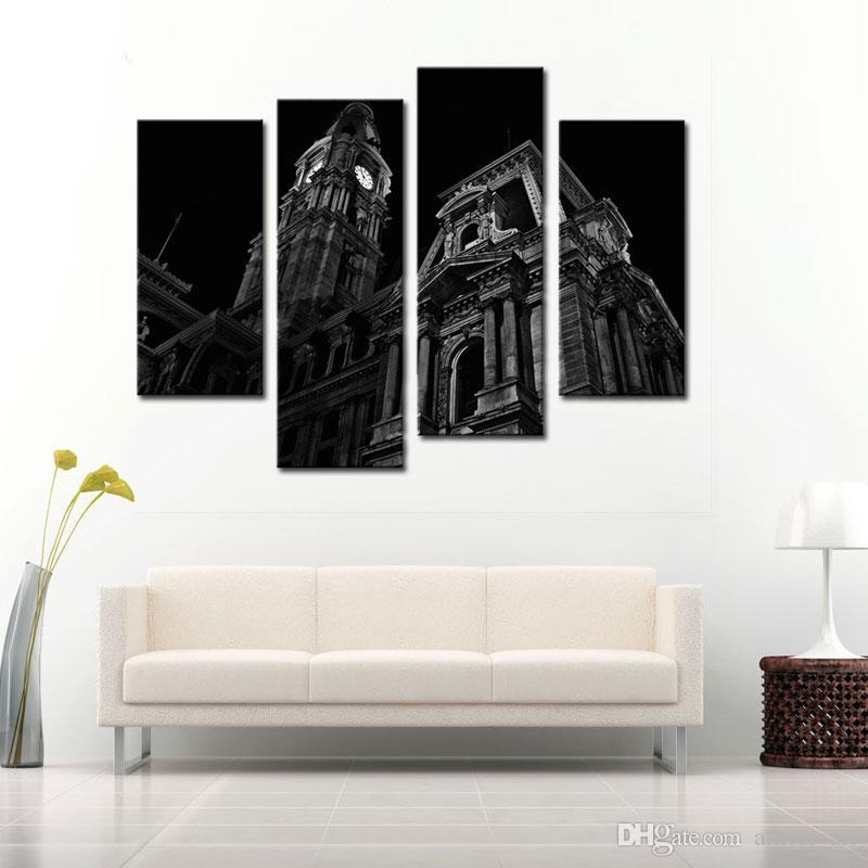 4 Panle Schwarz Weiß Wandkunst Gemälde von Großbritannien London Big Ben Uhrturm Ölgemälde Auf Leinwand Moderne Kunst Wohnkultur Für Wohnzimmer