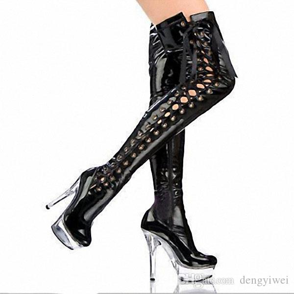 6 inch boots 15 cm high heels circuit knee