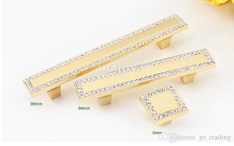 de luxe en cristal d'or en verre diamant Meubles Articles de fer Boutons Armoire tiroirs Armoires de cuisine Armoires Dresser Accessoires de porte Poignées