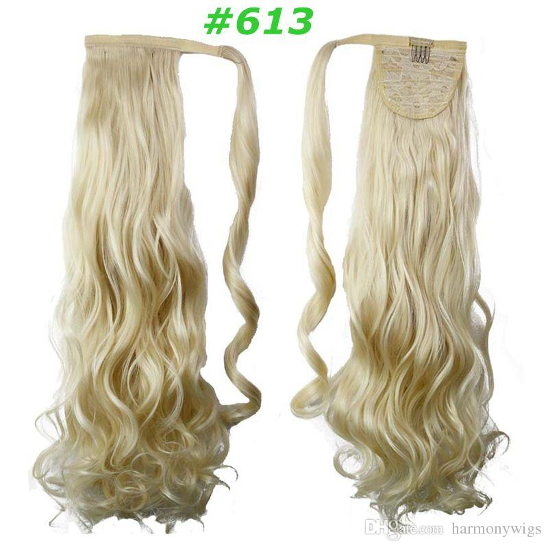 Clip Ponytail hair extensions synthetic Curly wavy hair pieces 24inch 120g drawsring Pony tails women fashion