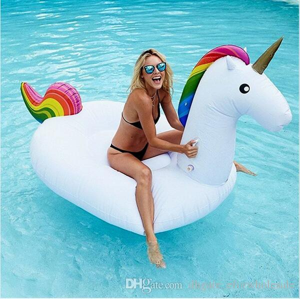 2017 108inch 2.7m Ride On Pool Floats Inflatable Unicorn Pegasus Giant Pool  Swimming Float Adults Childrentube Raft Swim Ring Water Fun Toys From ...